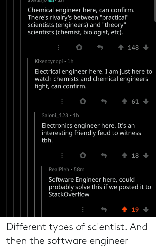 "Tbh, Watch, and Chemist: Chemical engineer here, can confirm.  There's rivalry's between ""practical""  scientists (engineers) and ""theory""  scientists (chemist, biologist, etc).  148  Kixencynopi 1h  .  Electrical engineer here. I am just here to  watch chemists and chemical engineers  fight, can confirm.  61  Saloni_123 1h  Electronics engineer here. It's an  interesting friendly feud to witness  tbh.  t 18  RealPleh 58m  Software Engineer here, could  probably solve this if we posted it to  StackOverflow  t 19 Different types of scientist. And then the software engineer"
