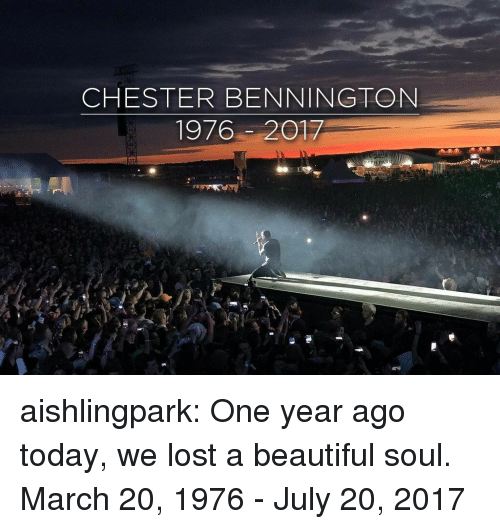 Beautiful, Target, and Tumblr: CHESTER BENNINGTON  1976-2017 aishlingpark:  One year ago today, we lost a beautiful soul.  March 20, 1976 - July 20, 2017