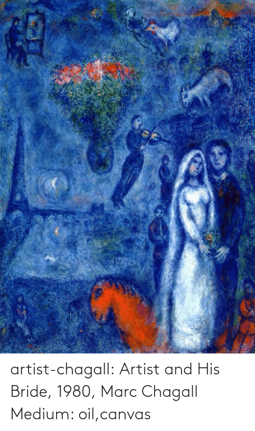 bride: Chicafe artist-chagall: Artist and His Bride, 1980, Marc Chagall Medium: oil,canvas