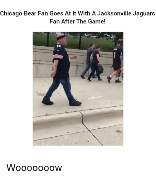 Chicago, Chicago Bears, and Funny: Chicago Bear Fan Goes At lt With A Jacksonville Jaguars  Fan After The Game! Wooooooow