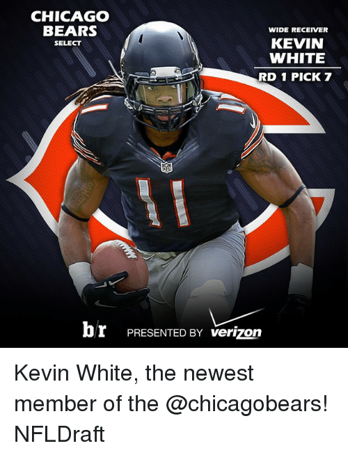 Chicago, Chicago Bears, and Sports: CHICAGO  BEARS  WIDE RECEIVER  KEVIN  SELECT  WHITE  RD 1 PICK 7  br PRESENTED BY verizon Kevin White, the newest member of the @chicagobears! NFLDraft