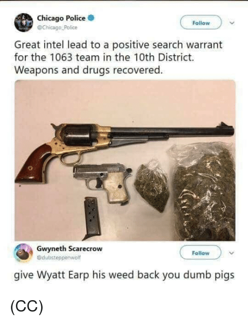 Chicago, Drugs, and Dumb: Chicago Police  @Chicago Police  Follow  Great intel lead to a positive search warrant  for the 1063 team in the 10th District.  Weapons and drugs recovered.  Gwyneth Scarecrow  @dubsteppenwolf  Follow  give Wyatt Earp his weed back you dumb pigs (CC)