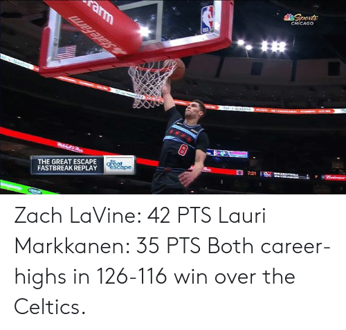 Chicago, Zach LaVine, and Celtics: CHİCAGO  THE GREAT ESCAPE  FASTBREAK REPLAY Zach LaVine: 42 PTS Lauri Markkanen: 35 PTS Both career-highs in 126-116 win over the Celtics.