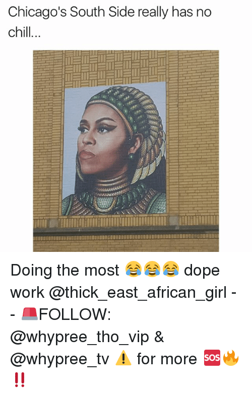 Chill, Dope, and Memes: Chicago's South Side really has no  chill Doing the most 😂😂😂 dope work @thick_east_african_girl - - 🚨FOLLOW: @whypree_tho_vip & @whypree_tv ⚠️ for more 🆘🔥‼️
