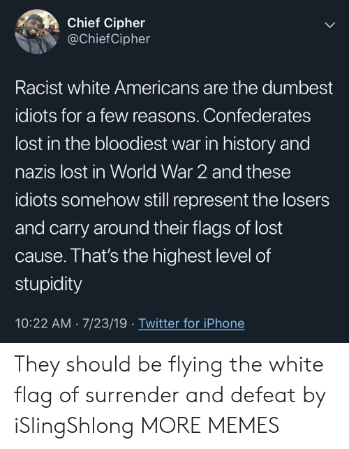 Dank, Iphone, and Memes: Chief Cipher  @ChiefCipher  Racist white Americans are the dumbest  idiots for a few reasons. Confederates  lost in the bloodiest war in history and  nazis lost in World War 2 and these  idiots somehow still represent the losers  and carry around their flags of lost  cause. That's the highest level of  stupidity  10:22 AM 7/23/19 Twitter for iPhone They should be flying the white flag of surrender and defeat by iSlingShlong MORE MEMES