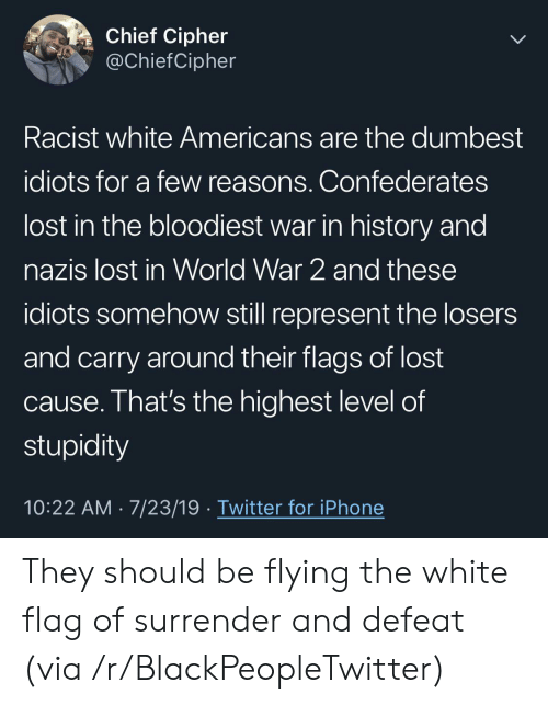 Blackpeopletwitter, Iphone, and Twitter: Chief Cipher  @ChiefCipher  Racist white Americans are the dumbest  idiots for a few reasons. Confederates  lost in the bloodiest war in history and  nazis lost in World War 2 and these  idiots somehow still represent the losers  and carry around their flags of lost  cause. That's the highest level of  stupidity  10:22 AM 7/23/19 Twitter for iPhone They should be flying the white flag of surrender and defeat (via /r/BlackPeopleTwitter)