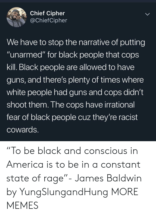 "America, Dank, and Guns: Chief Cipher  @ChiefCipher  We have to stop the narrative of putting  ""unarmed"" for black people that cops  kill. Black people are allowed to have  guns, and there's plenty of times where  white people had guns and cops didn't  shoot them. The cops have irrational  fear of black people cuz they're racist  COwards. ""To be black and conscious in America is to be in a constant state of rage""- James Baldwin by YungSlungandHung MORE MEMES"