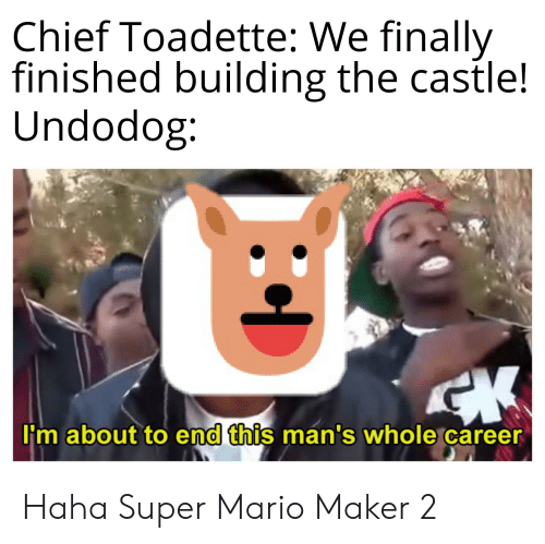 Super Mario, Mario, and The Castle: Chief Toadette: We finally  finished building the castle!  Undodog:  CK  I'm about to end this man's whole career Haha Super Mario Maker 2