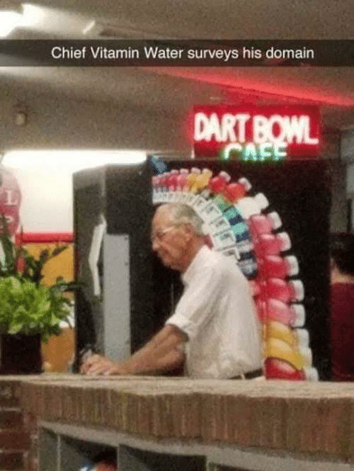 Water, Bowl, and Vitamin Water: Chief Vitamin Water surveys his domain  DART BOWL  CAFE