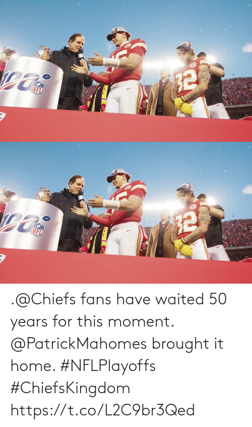 Chiefs: .@Chiefs fans have waited 50 years for this moment.  @PatrickMahomes brought it home. #NFLPlayoffs #ChiefsKingdom https://t.co/L2C9br3Qed