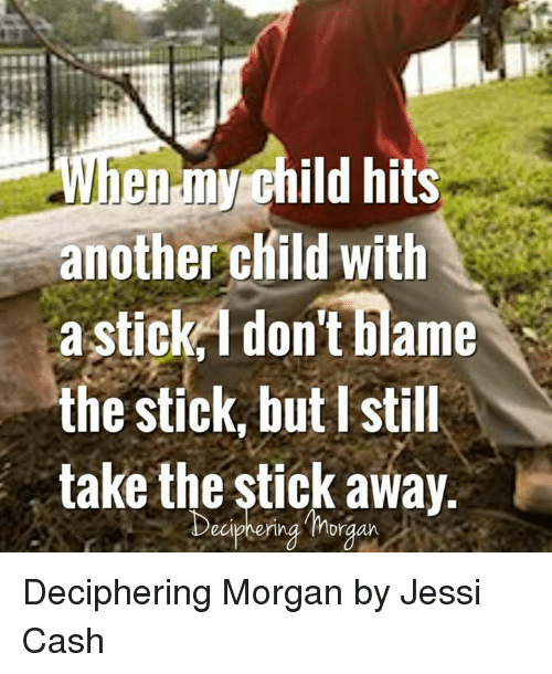 Another, Stick, and Blame: child hits  another child with  a stick 1 don't blame  the stick, but I still  take the stick away  eipher Deciphering Morgan by Jessi Cash