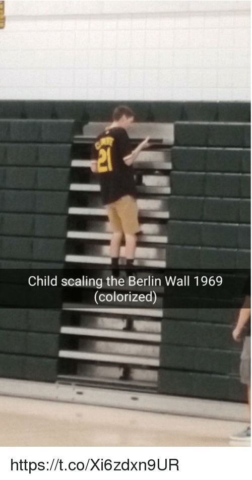 Scaling: Child scaling the Berlin Wall 1969  (colorized) https://t.co/Xi6zdxn9UR