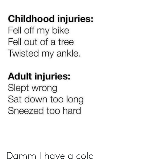 slept: Childhood injuries:  Fell off my bike  Fell out of a tree  Twisted my ankle.  Adult injuries:  Slept wrong  Sat down too long  Sneezed too hard Damm I have a cold