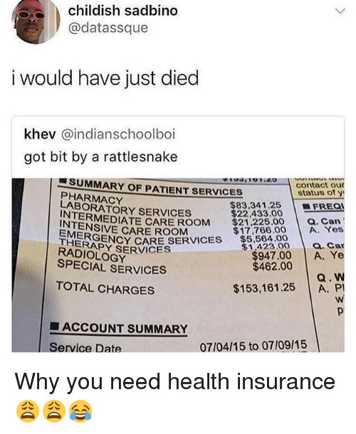 Memes, Date, and Health Insurance: childish sadbino  @datassque  i would have just died  khev @indianschoolboi  got bit by a rattlesnake  ■ SUMMARY OF PATIENTSERVICES  PHARMACY  contact our  status of y  | ■FREQl  LABORATORY SERVICES  INTEMEDIATE CARE ROOM  EMER  $83.34 1.25  $22,433.00  $21 225.00 a. Can  CARE ROOM  THER NCY CARE SERVICES $5.564.00  $17,766.00 A. Yes  a. Car  RADOY SERVICES  SPECIAL SERVICES  $1,423.00  $947.00 A. Ye  $462.00  Q. W  $153,16125 A. P  TOTAL CHARGES  ■ ACCOUNT SUMMARY  Service Date  07/04/15 to 07/09/15 Why you need health insurance 😩😩😂