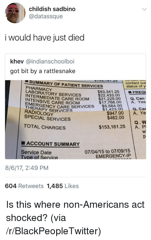 Blackpeopletwitter, Carolina Panthers, and Date: childish sadbino  @datassque  i would have just died  khev @indianschoolboi  got bit by a rattlesnake  SUMMARY OF PATIENT SERVICES  PHARMACY  LABORATORY SERVICES  INTERMEDIA  INTENSIVE CARE ROOM  THERSENCY CARE SERVICES $5,564.00  EMERGE  RADIOLOGY  SPECIAL SERVICES  contact our  status of y  $83,341.25 FREO  $22,433.00  EDATE CARE ROOM $212250Q.Can  a. Car  $947.00 A. Ye  $1,423.00  $462.00  Q. W  TOTAL CHARGES  $153,161.25 A. P  ■ ACCOUNT SUMMARY  07/04/15 to 07/09/15  EMERGENCY-IP  Service Date  vpe of Service  8/6/17, 2:49 PM  604 Retweets 1,485 Likes <p>Is this where non-Americans act shocked? (via /r/BlackPeopleTwitter)</p>