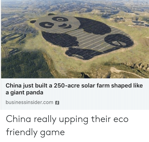 China, Panda, and Game: China just built a 250-acre solar farm shaped like  a giant panda  businessinsider.com China really upping their eco friendly game