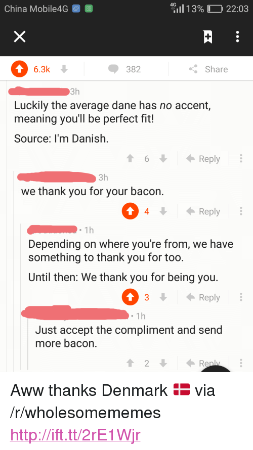 "Aww, China, and Thank You: China Mobile4G 8  4?11 1 3% (D 22:03  6.3k  382  Share  Luckily the average dane has no accent,  meaning you'll be perfect fit!  Source: I'm Danish.  6  Reply  3h  we thank you for your bacon.  0  4Rply  1h  Depending on where you're from, we have  something to thank you for too  Until then: We thank you for being you  3 Reply  1h  Just accept the compliment and send  more bacon. <p>Aww thanks Denmark 🇩🇰 via /r/wholesomememes <a href=""http://ift.tt/2rE1Wjr"">http://ift.tt/2rE1Wjr</a></p>"