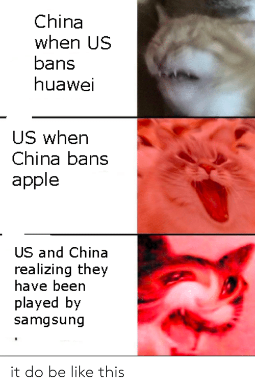 huawei: China  when US  bans  huawei  US when  China bans  apple  US and China  realizing they  have been  played by  samgsung it do be like this