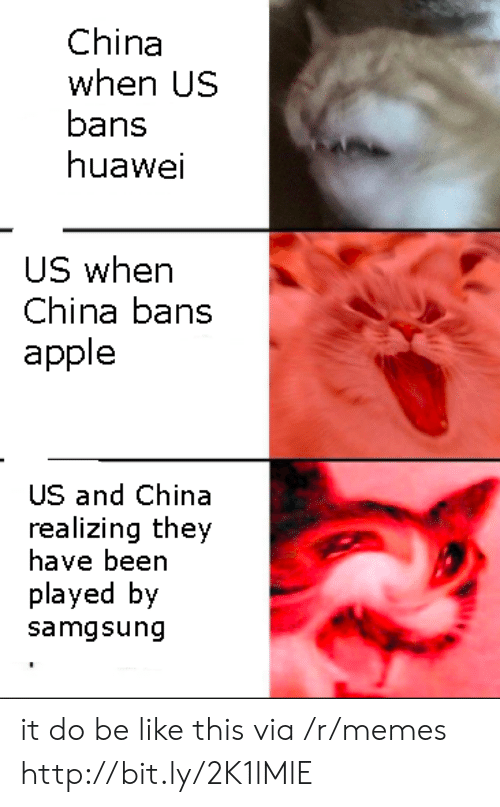 huawei: China  when US  bans  huawei  US when  China bans  apple  US and China  realizing they  have been  played by  samgsung it do be like this via /r/memes http://bit.ly/2K1lMlE