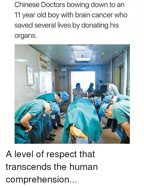 Bowing Down: Chinese Doctors bowing down to an  11 year old boy with brain cancer who  saved several lives by donating his  organs.  13 A level of respect that transcends the human comprehension...