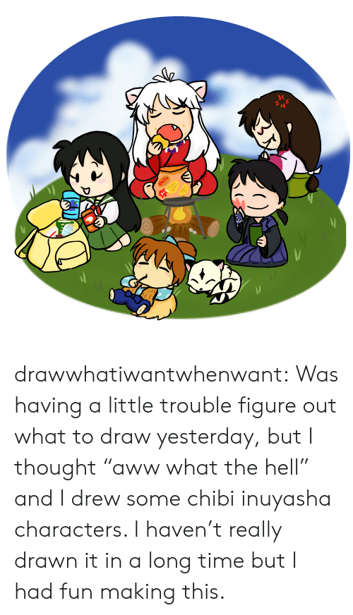 """Target, Tumblr, and Blog: Chits drawwhatiwantwhenwant:  Was having a little trouble figure out what to draw yesterday, but I thought """"aww what the hell"""" and I drew some chibi inuyasha characters. I haven't really drawn it in a long time but I had fun making this."""