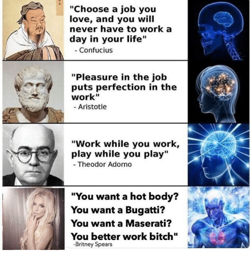 """Aristotle: """"Choose a job you  love, and you will  never have to work a  day in your life""""  Confucius  """"Pleasure in the job  puts perfection in the  work""""  Aristotle  """"Work while you work,  play while you play""""  Theodor Adorno  """"You want a hot body?  You want a Bugatti?  You want a Maserati?  You better work bitch""""  -Britney Spears"""