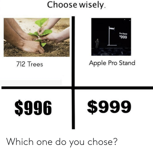 Wisely: Choose wisely.  Pro Stand  $999  Apple Pro Stand  712 Trees  $999  $996 Which one do you chose?