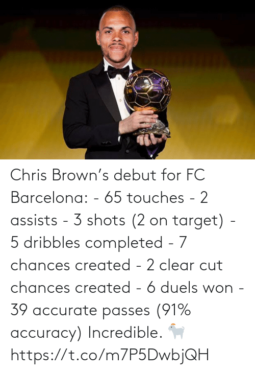 Chris: Chris Brown's debut for FC Barcelona:  - 65 touches - 2 assists - 3 shots (2 on target) - 5 dribbles completed  - 7 chances created  - 2 clear cut chances created  - 6 duels won  - 39 accurate passes (91% accuracy)  Incredible. 🐐 https://t.co/m7P5DwbjQH