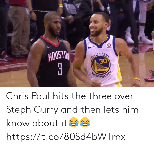 Chris: Chris Paul hits the three over Steph Curry and then lets him know about it😂😂 https://t.co/80Sd4bWTmx