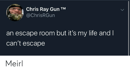 ray: Chris Ray Gun ™  @ChrisRGun  an escape room but it's my life and I  can't escape Meirl