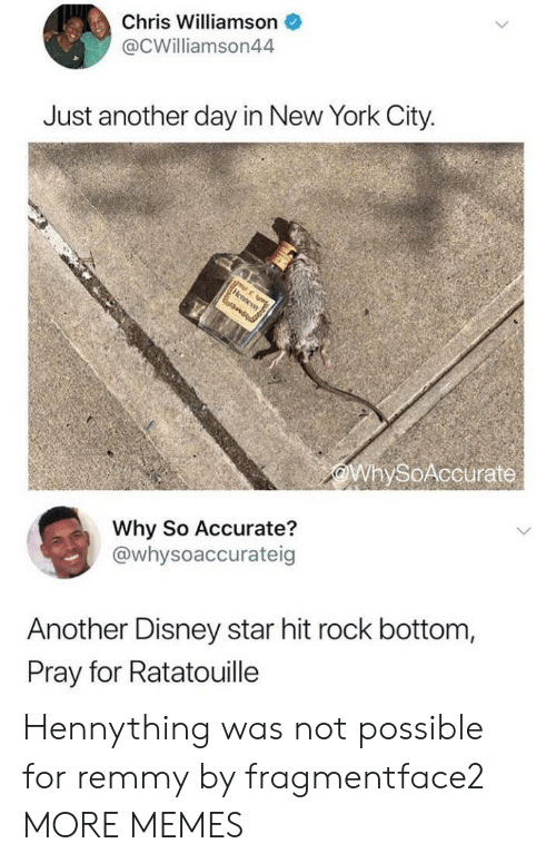 Not Possible: Chris Williamson  @CWilliamson44  Just another day in New York City.  WhySoAccurate  Why So Accurate?  @whysoaccurateig  Another Disney star hit rock bottom,  Pray for Ratatouille Hennything was not possible for remmy by fragmentface2 MORE MEMES