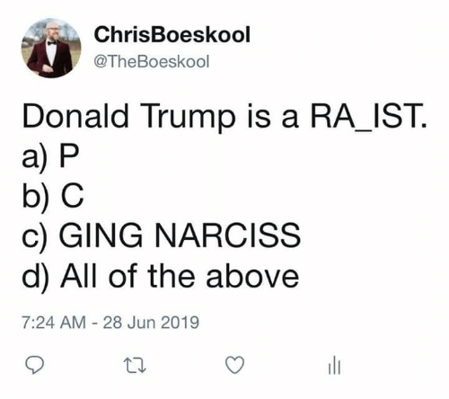 Donald Trump, Trump, and All of The: ChrisBoeskool  @TheBoeskool  Donald Trump is a RA_IST  a) P  b) C  c) GING NARCISS  d) All of the above  7:24 AM - 28 Jun 2019