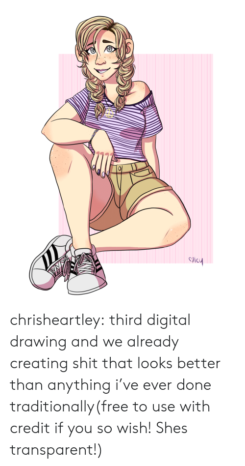 Transparent: chrisheartley:  third digital drawing and we already creating shit that looks better than anything i've ever done traditionally(free to use with credit if you so wish! Shes transparent!)