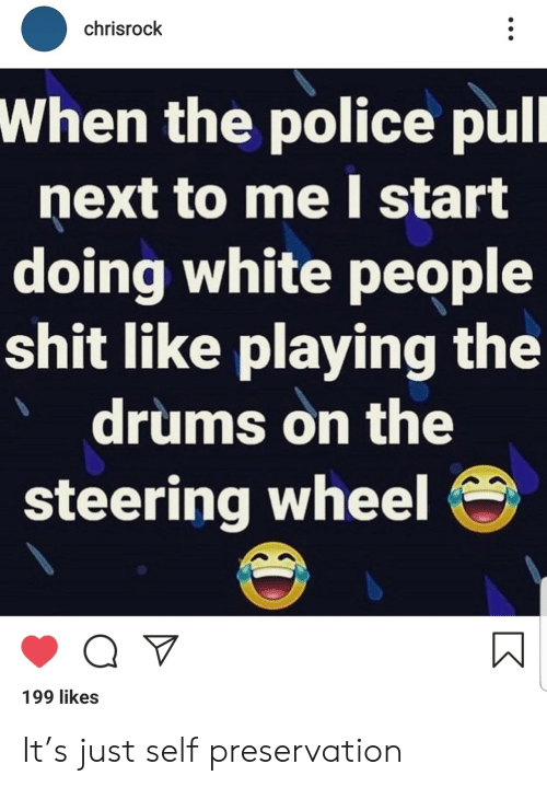 Steering: chrisrock  When the police pull  next to me start  doing white people  shit like playing the  drums on the  steering wheel  199 likes It's just self preservation