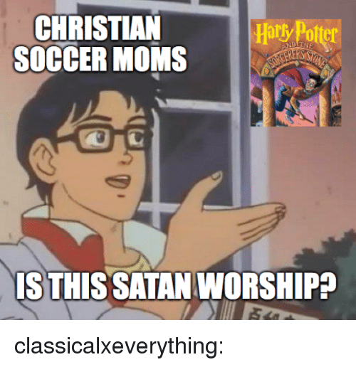 Moms, Soccer, and Tumblr: CHRISTIAN  SOCCER MOMS  ary Potter  IS THIS SATAN WORSHIPP classicalxeverything: