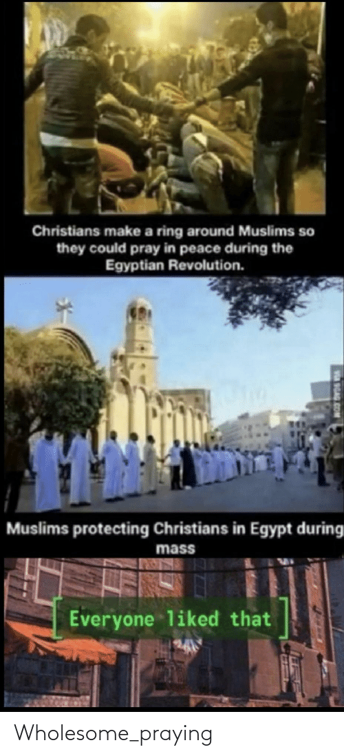 pray: Christians make a ring around Muslims so  they could pray in peace during the  Egyptian Revolution.  Muslims protecting Christians in Egypt during  mass  Everyone liked that  9GAG.COM Wholesome_praying