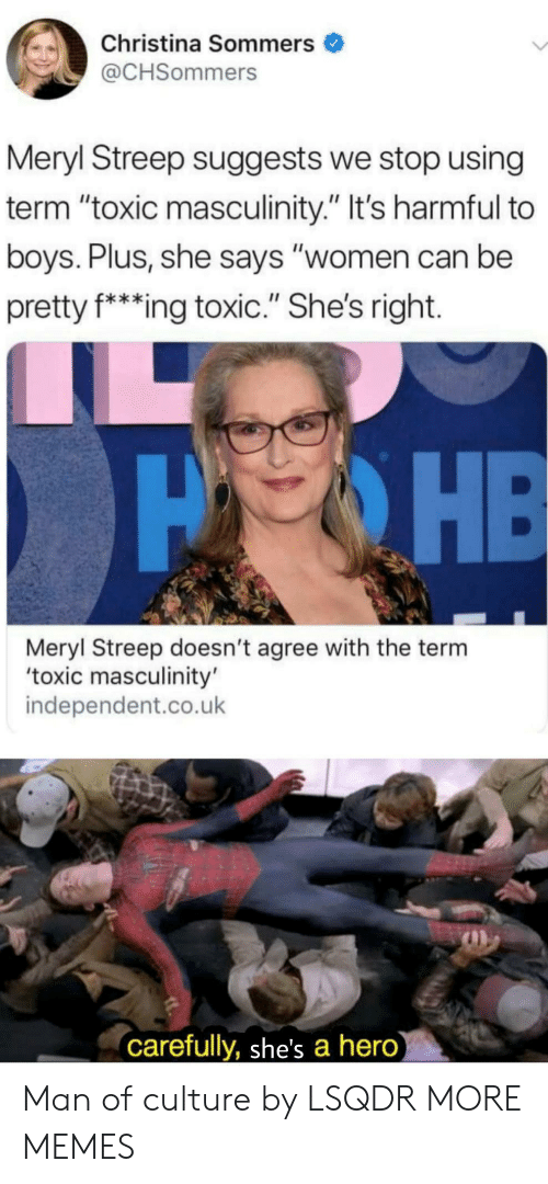 "Dank, Memes, and Target: Christina Sommers  @CHSommers  Meryl Streep suggests we stop using  term ""toxic masculinity."" It's harmful to  boys. Plus, she says ""women can be  pretty f*ing toxic."" She's right.  PHE  Meryl Streep doesn't agree with the term  'toxic masculinity'  independent.co.uk  carefully, she's a hero) Man of culture by LSQDR MORE MEMES"
