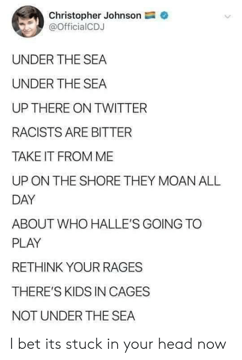 christopher: Christopher Johnson  @OfficialCDJ  UNDER THE SEA  UNDER THE SEA  UP THERE ON TWITTER  RACISTS ARE BITTER  TAKE IT FROM ME  ON THE SHORE THEY MOAN ALL  DAY  ABOUT WHO HALLE'S GOING TO  PLAY  RETHINK YOUR RAGES  THERE'S KIDS IN CAGES  NOT UNDER THE SEA I bet its stuck in your head now