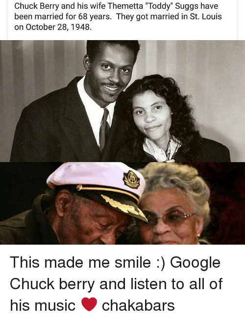 """berri: Chuck Berry and his wife Themetta """"Toddy"""" Suggs have  been married for 68 years. They got married in St. Louis  on October 28, 1948. This made me smile :) Google Chuck berry and listen to all of his music ❤ chakabars"""