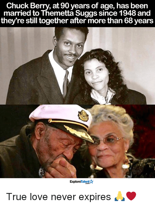 berri: Chuck Berry, at 90 years of age, has been  married to Themetta Suggs since 1948 and  they're still together after more than 68years  ExploreTalent True love never expires 🙏❤
