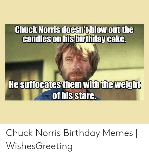Surprising Chuck Norris Doesntblow Out The Candles On His Binthday Cake He Personalised Birthday Cards Sponlily Jamesorg