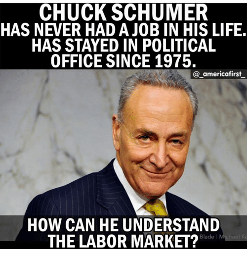 chuck schumer: CHUCK SCHUMER  HAS NEVER HAD A JOB IN HIS LIFE  HAS STAYED IN POLITICAL  OFFICE SINCE 1975.  @_americafirst  HOW CAN HE UNDERSTAND  THE LAB0R MARKET?  Blade l