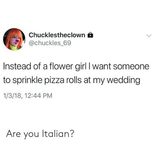 Sprinkle: Chucklestheclown 6  @chuckles 69  Instead of a flower girl I want someone  to sprinkle pizza rolls at my wedding  1/3/18, 12:44 PM Are you Italian?