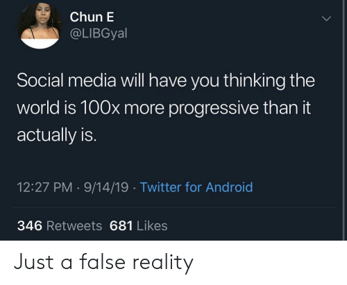 Android, Social Media, and Twitter: Chun E  @LIBGyal  Social media will have you thinking the  world is 100x more progressive than it  actually is.  12:27 PM 9/14/19 Twitter for Android  346 Retweets 681 Likes Just a false reality