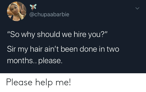 "hire: @chupaabarbie  ""So why should we hire you?""  Sir my hair ain't been done in two  months.. please. Please help me!"