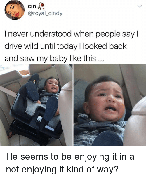 Drived: cin  @royal_cindy  I never understood when people say l  drive wild until today I looked back  and saw my baby like this He seems to be enjoying it in a not enjoying it kind of way?