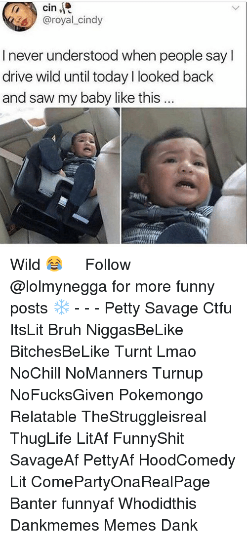 Hoodcomedy: cin  @royal cindy  I never understood when people sayl  drive wild until today l looked back  and saw my baby like this  gHit Wild 😂   ⁶𓅓 ➫➫ Follow @lolmynegga for more funny posts ❄️ - - - Petty Savage Ctfu ItsLit Bruh NiggasBeLike BitchesBeLike Turnt Lmao NoChill NoManners Turnup NoFucksGiven Pokemongo Relatable TheStruggleisreal ThugLife LitAf FunnyShit SavageAf PettyAf HoodComedy Lit ComePartyOnaRealPage Banter funnyaf Whodidthis Dankmemes Memes Dank