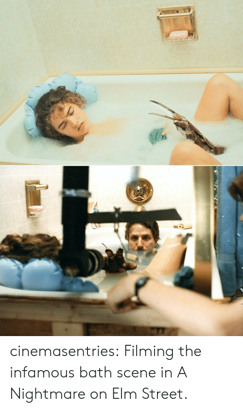 Infamous: cinemasentries: Filming the infamous bath scene in A Nightmare on Elm Street.
