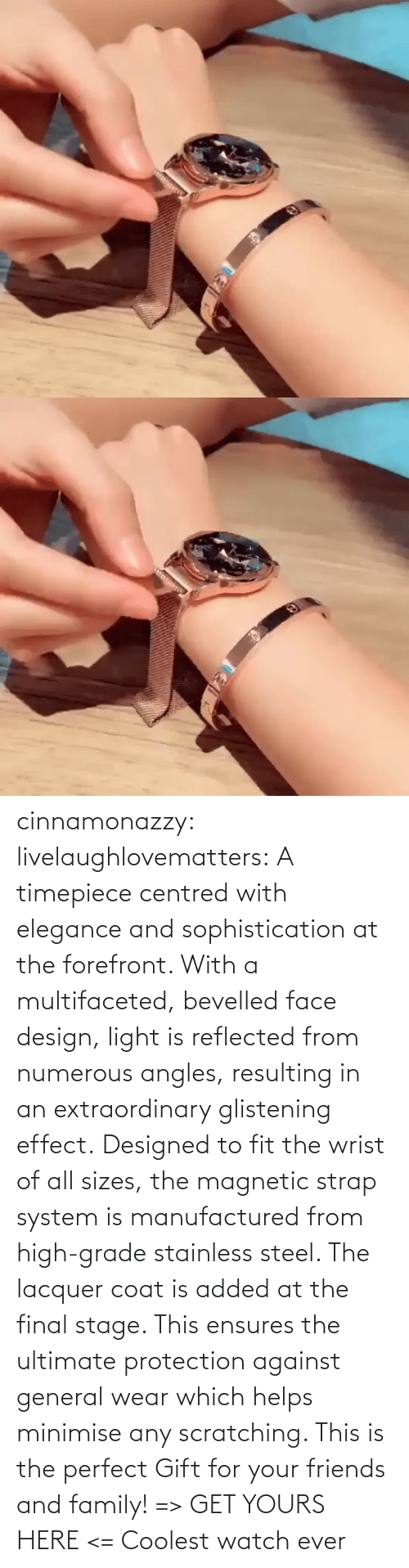 Friends And Family: cinnamonazzy:  livelaughlovematters: A timepiece centred with elegance and sophistication at the forefront. With a multifaceted, bevelled face design, light is reflected from numerous angles, resulting in an extraordinary glistening effect. Designed to fit the wrist of all sizes, the magnetic strap system is manufactured from high-grade stainless steel. The lacquer coat is added at the final stage. This ensures the ultimate protection against general wear which helps minimise any scratching. This is the perfect Gift for your friends and family! => GET YOURS HERE <=    Coolest watch ever