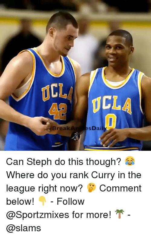 Stephe: CL  42  CLA  CBreakA  sDai Can Steph do this though? 😂 Where do you rank Curry in the league right now? 🤔 Comment below! 👇 - Follow @Sportzmixes for more! 🌴 - @slams